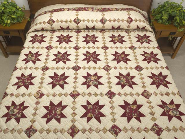 Red Gold and Cream Cross Country Quilt Photo 1