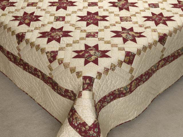 Red Gold and Cream Cross Country Quilt Photo 7