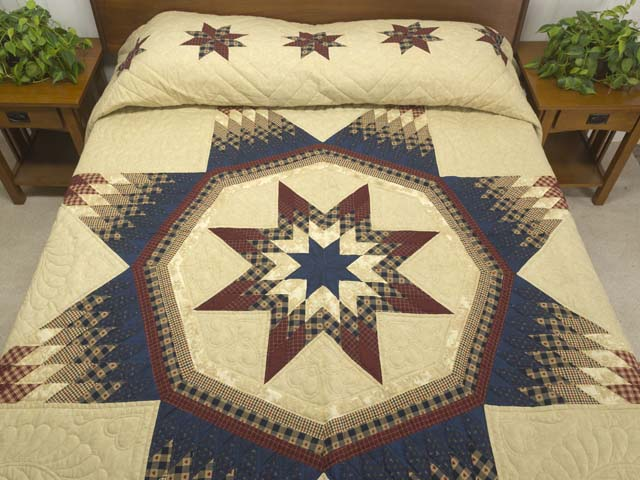 Plaid Burgundy Navy and Golden Tan Royal Star of Maryland Quilt Photo 1