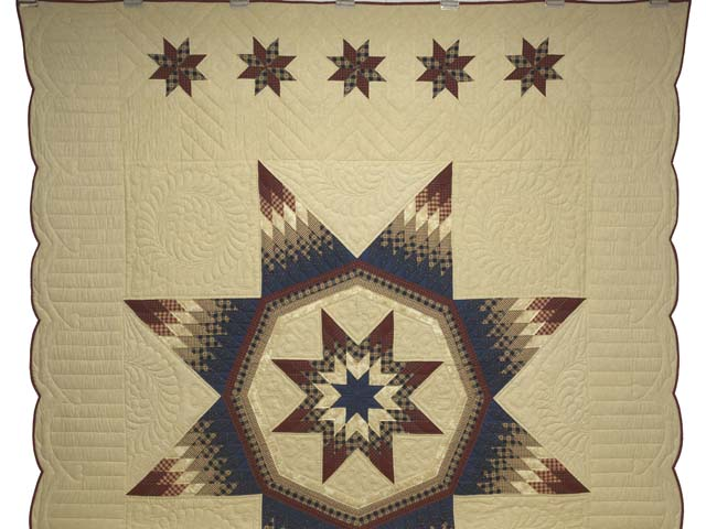 Plaid Burgundy Navy and Golden Tan Royal Star of Maryland Quilt Photo 2