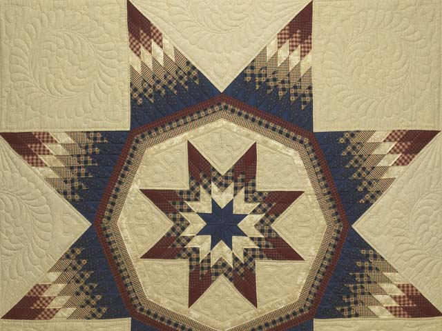 Plaid Burgundy Navy and Golden Tan Royal Star of Maryland Quilt Photo 3