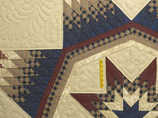Plaid Burgundy Navy and Golden Tan Royal Star of Maryland Quilt Photo 4