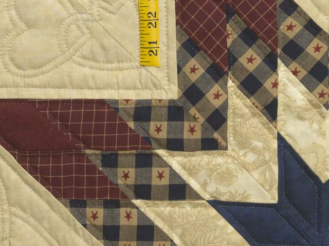 Plaid Burgundy Navy and Golden Tan Royal Star of Maryland Quilt Photo 5