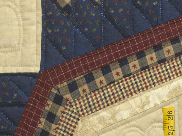 Plaid Burgundy Navy and Golden Tan Royal Star of Maryland Quilt Photo 6