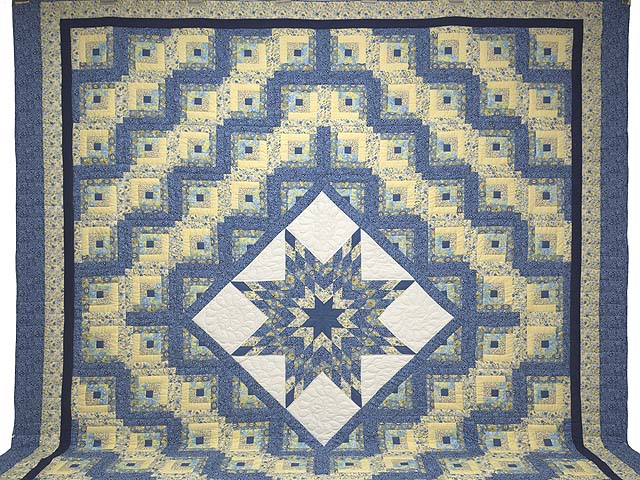 King Blue and Golden Yellow Lone Star Log Cabin Quilt Photo 2