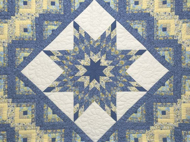 King Blue and Golden Yellow Lone Star Log Cabin Quilt Photo 3