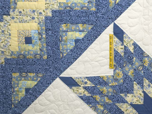 King Blue and Golden Yellow Lone Star Log Cabin Quilt Photo 4