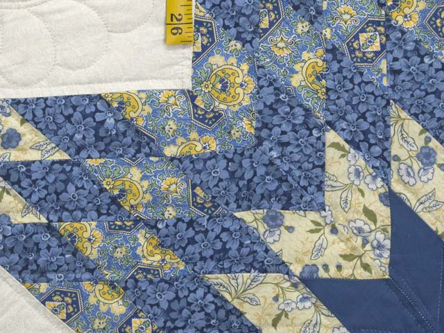 King Blue and Golden Yellow Lone Star Log Cabin Quilt Photo 5