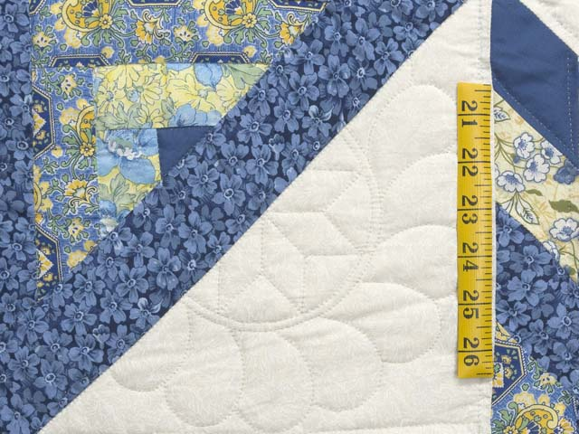 King Blue and Golden Yellow Lone Star Log Cabin Quilt Photo 6