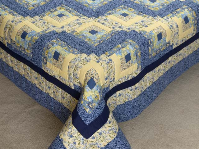 King Blue and Golden Yellow Lone Star Log Cabin Quilt Photo 7