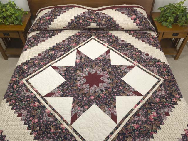 Rose Burgundy and Cream Lone Star Log Cabin Quilt Photo 1