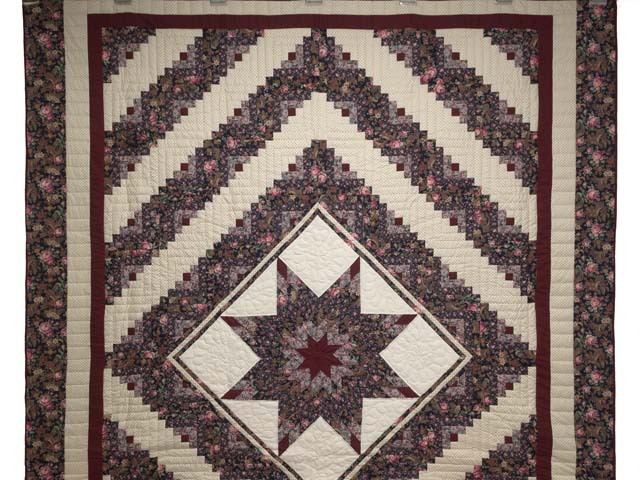 Rose Burgundy and Cream Lone Star Log Cabin Quilt Photo 2