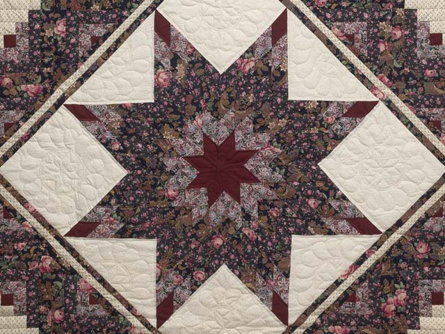 Rose Burgundy and Cream Lone Star Log Cabin Quilt Photo 3