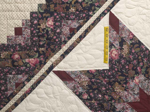 Rose Burgundy and Cream Lone Star Log Cabin Quilt Photo 4