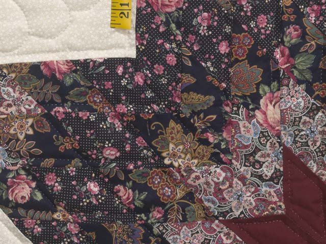 Rose Burgundy and Cream Lone Star Log Cabin Quilt Photo 5