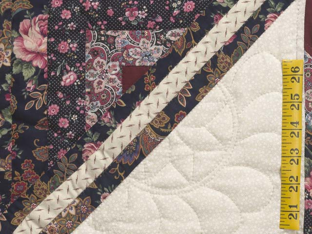 Rose Burgundy and Cream Lone Star Log Cabin Quilt Photo 6