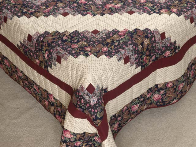 Rose Burgundy and Cream Lone Star Log Cabin Quilt Photo 7