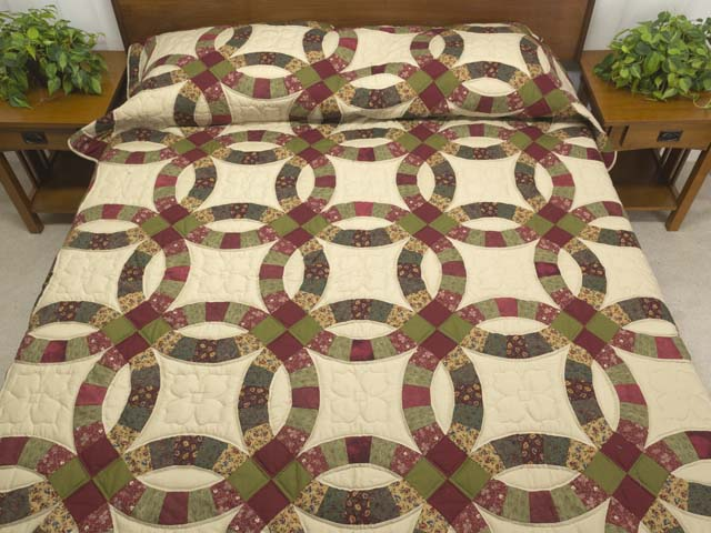Twin Autumn Leaves Double Wedding Ring Quilt Photo 1