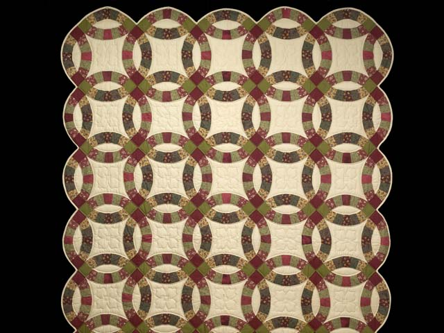 Twin Autumn Leaves Double Wedding Ring Quilt Photo 2