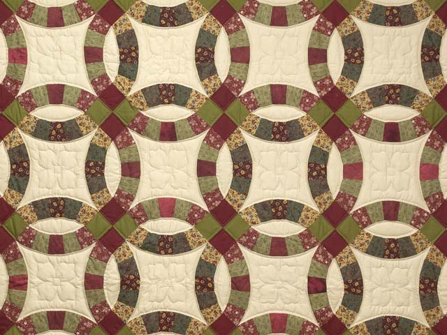 Twin Autumn Leaves Double Wedding Ring Quilt Photo 3