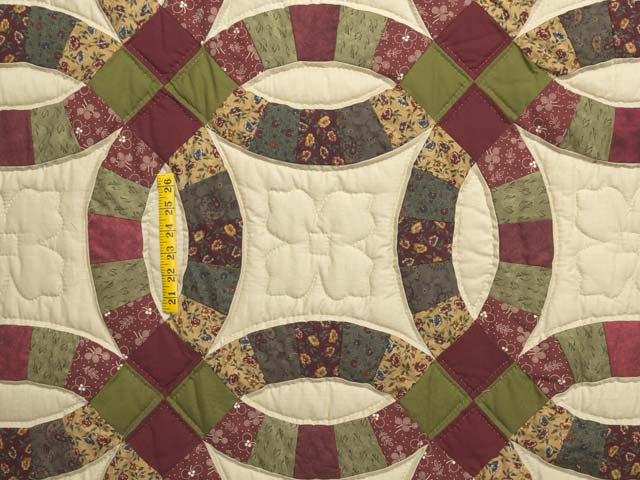 Twin Autumn Leaves Double Wedding Ring Quilt Photo 4