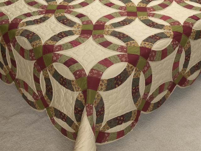 Twin Autumn Leaves Double Wedding Ring Quilt Photo 7