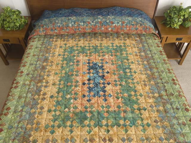 photo of Golden Multicolor Blooming Nine Patch Quilt