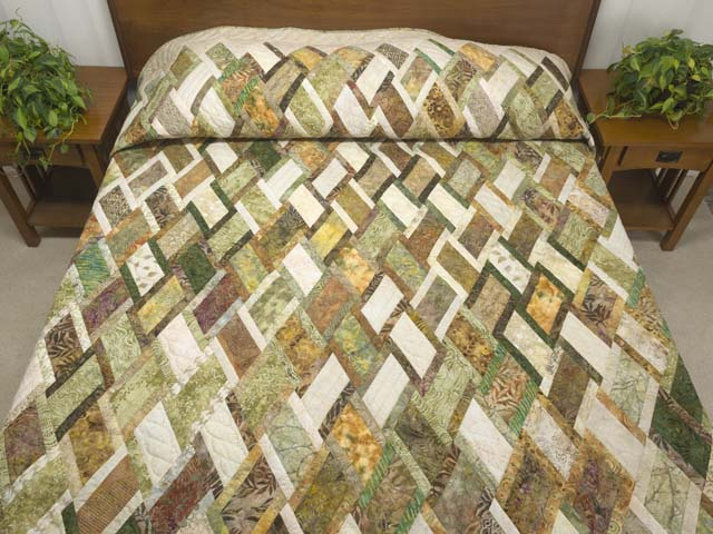 Batik Green Gold and Cream Diamond Jubilee Quilt Photo 1