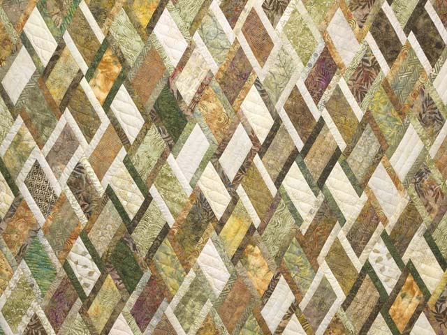 Batik Green Gold and Cream Diamond Jubilee Quilt Photo 3
