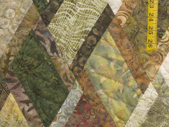 Batik Green Gold and Cream Diamond Jubilee Quilt Photo 5