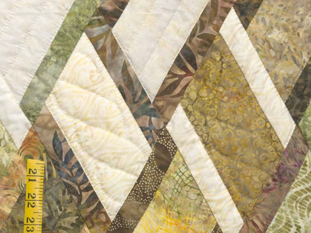 Batik Green Gold and Cream Diamond Jubilee Quilt Photo 6