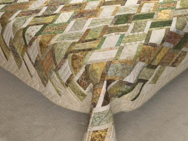 Batik Green Gold and Cream Diamond Jubilee Quilt Photo 7