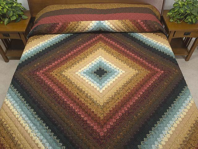 Gold Red Brown and Teal Postage Stamp Color Splash King/Queen Size Bed Quilt Photo 1