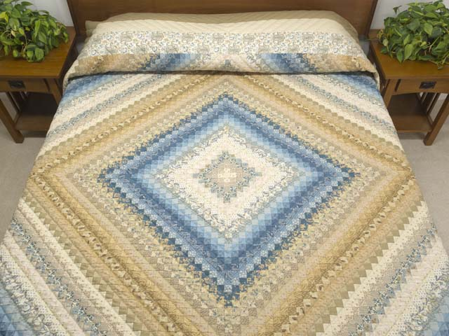 King Tan Blue and Cream Postage Stamp Color Splash Quilt Photo 1