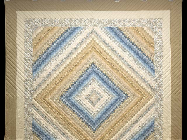 King Tan Blue and Cream Postage Stamp Color Splash Quilt Photo 2