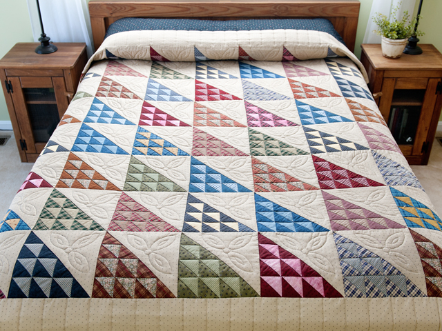 Navy and Multicolor Birds in the Air Quilt Photo 1