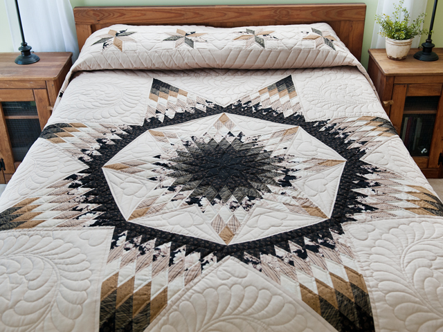 Black, Gold and Beige Maryland Star Quilt Photo 1
