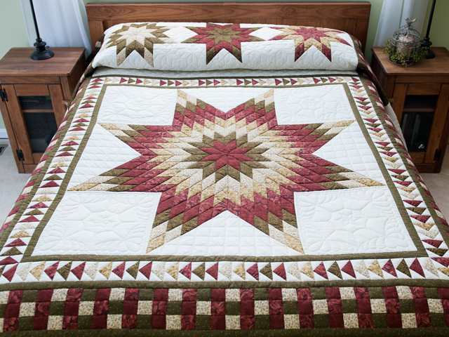Sage, Brick and Gold Lone Star Flying Geese Quilt Photo 1
