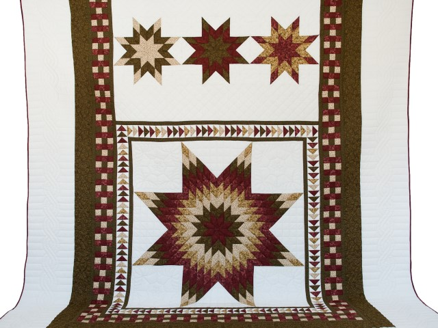 Sage, Brick and Gold Lone Star Flying Geese Quilt Photo 2
