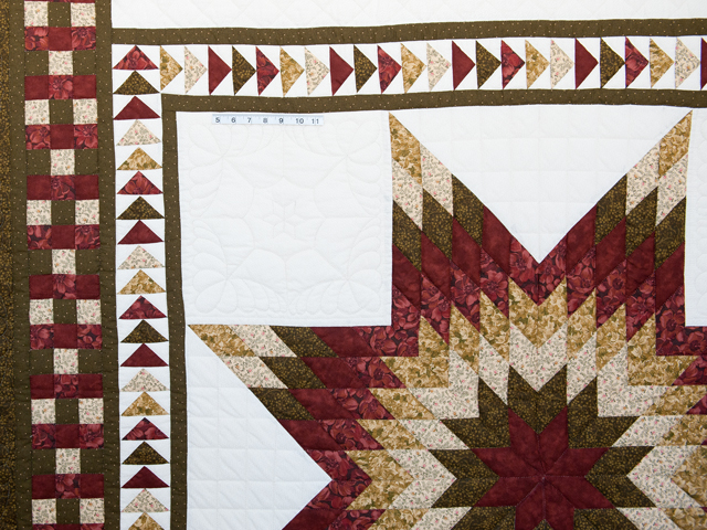 Sage, Brick and Gold Lone Star Flying Geese Quilt Photo 4