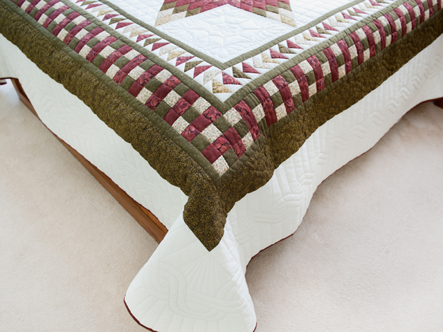 Sage, Brick and Gold Lone Star Flying Geese Quilt Photo 7