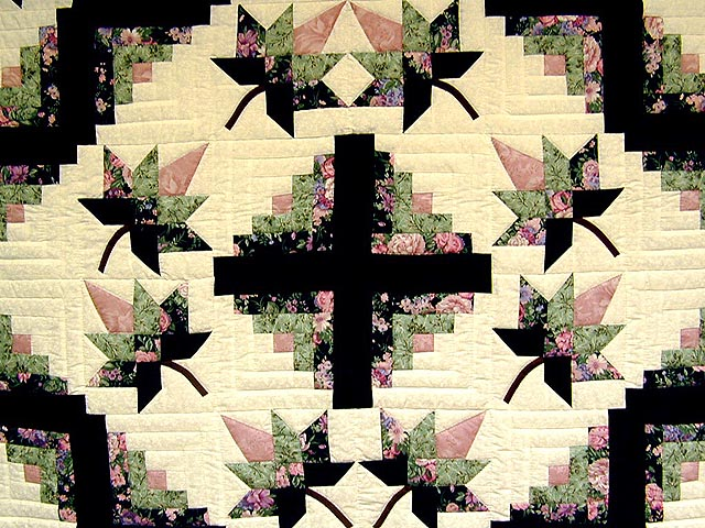 Green and Mauve Cabin Splendor Quilt Photo 3
