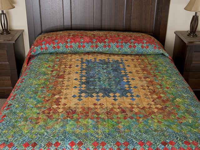 Batik Blooming Nine Patch  Quilt Photo 1