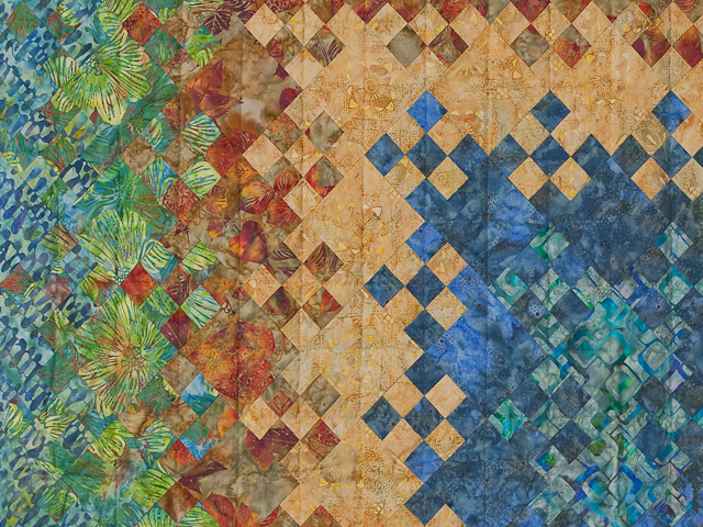 Batik Blooming Nine Patch  Quilt Photo 6