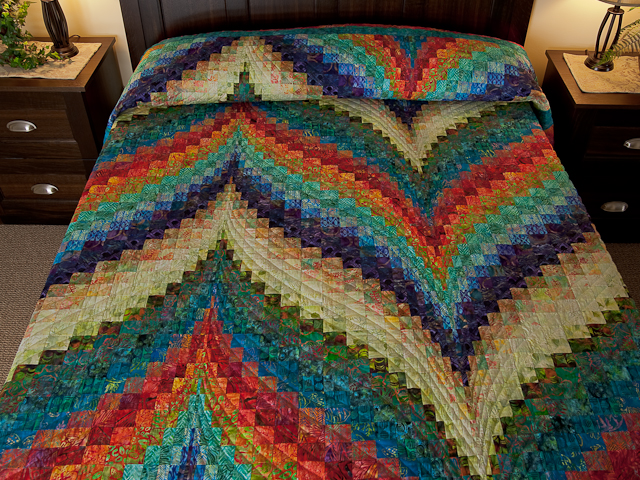 Hand Painted Greens, orange, red, blue Bargello Flame Quilt Photo 1