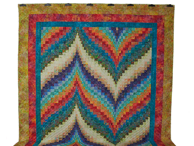 Hand Painted Greens, orange, red, blue Bargello Flame Quilt Photo 2