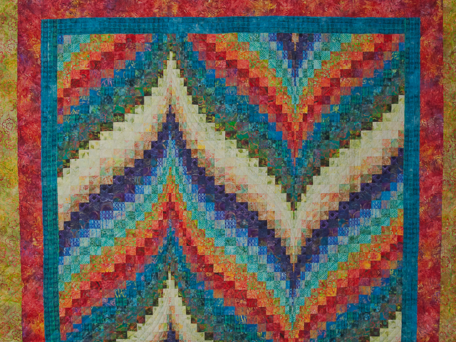 Hand Painted Greens, orange, red, blue Bargello Flame Quilt Photo 3