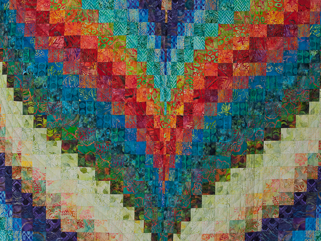 Hand Painted Greens, orange, red, blue Bargello Flame Quilt Photo 4