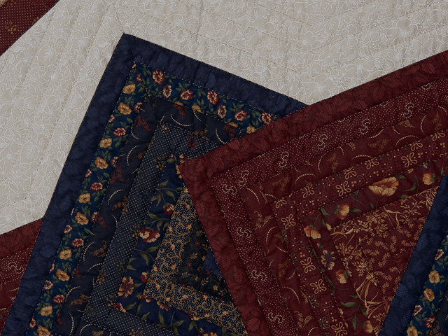 Queen Navy Burgundy and Tan Star Spin Quilt Photo 4