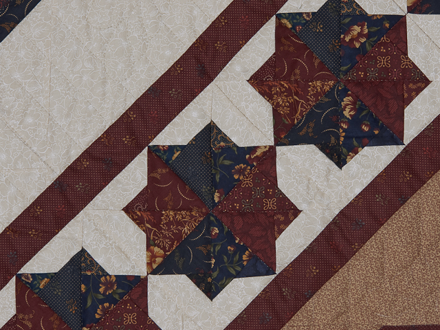 Queen Navy Burgundy and Tan Star Spin Quilt Photo 6